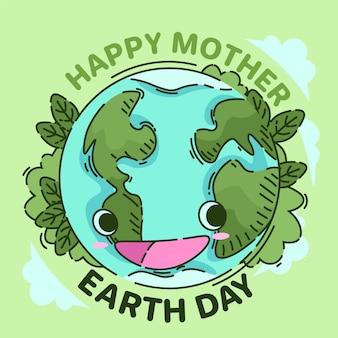Mão desenhada conceito de dia da mãe terra