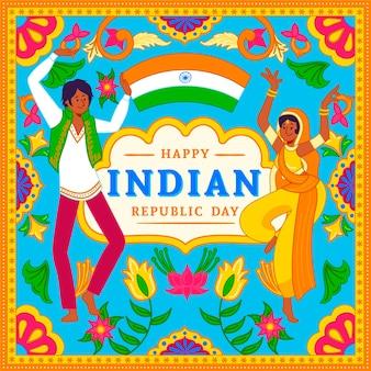 Mão desenhada conceito de dia da república indiana