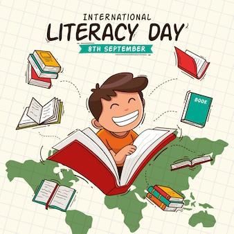 Mão desenhada conceito de dia internacional da alfabetização
