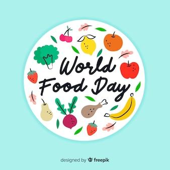 Mão desenhada conceito de dia mundial da comida