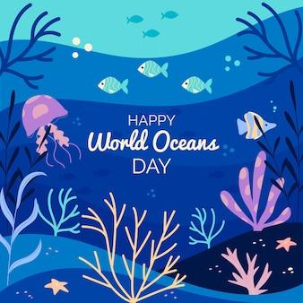 Mão desenhada conceito de dia mundial dos oceanos