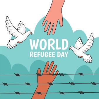 Mão desenhada conceito de dia mundial dos refugiados