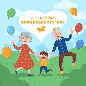 Mão desenhada conceito de dia nacional dos avós