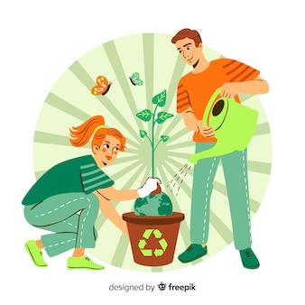 Mão desenhada conceito de ecologia com elementos naturais