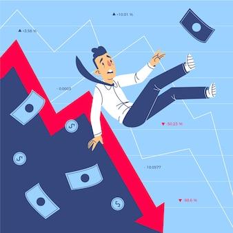 Mão desenhada conceito de falência