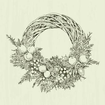 Mão desenhada conceito de grinalda de natal