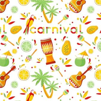 Mão desenhada conceito de padrão de carnaval brasileiro