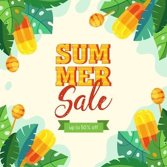 Mão desenhada conceito de venda de verão