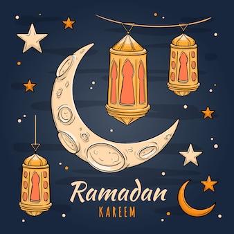 Mão desenhada conceito do ramadã