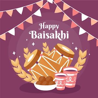 Mão desenhada conceito feliz baisakhi