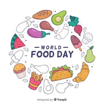 Mão desenhada conceito mundo comida dia