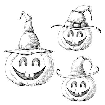 Mão desenhada conjunto de abóboras para o halloween em bonés pontiagudos.