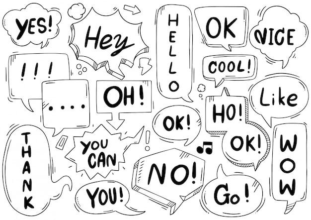 Mão desenhada conjunto de balão fofo com texto em estilo doodle
