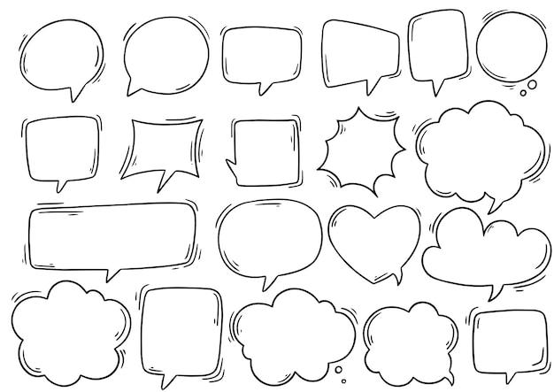 Mão desenhada conjunto de balão fofo no estilo doodle