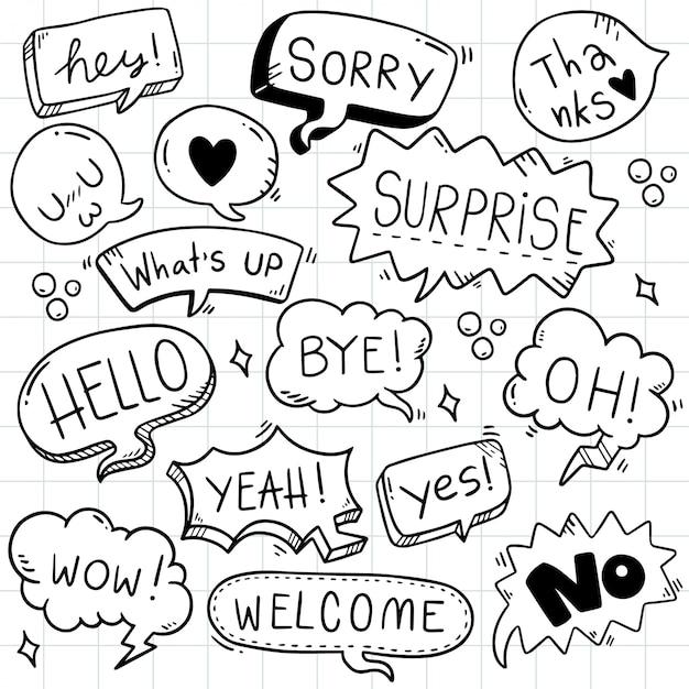 Mão desenhada conjunto de bolha do discurso bonito com texto em estilo doodle