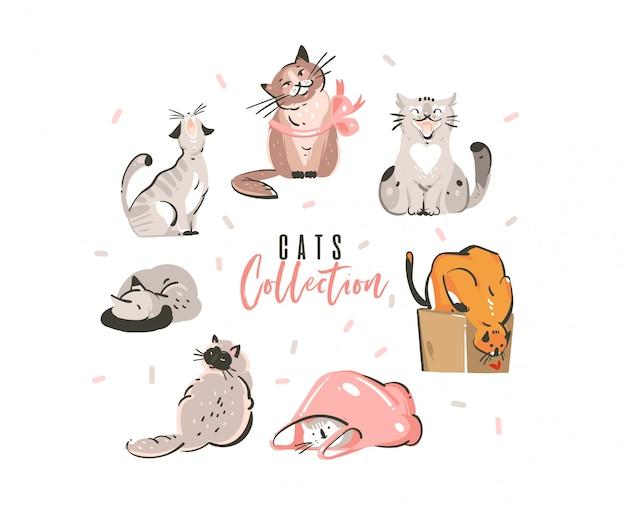 Mão desenhada conjunto de coleta abstrato bonito simples engraçado gatos domésticos