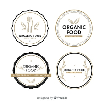 Mão desenhada conjunto de rótulo de frutas orgânicas