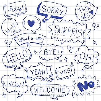 Mão desenhada conjunto de texto bonito discurso eith bolha no estilo doodle