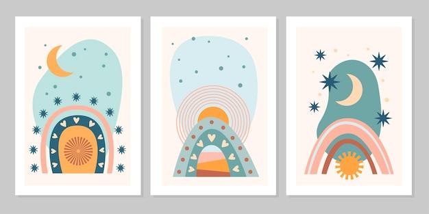 Mão desenhada conjunto poster boho abstrato com arco-íris, sol, lua, estrela, forma isolada em fundo bege. ilustração em vetor plana. design para padrão, logotipo, cartazes, convite, cartão de felicitações