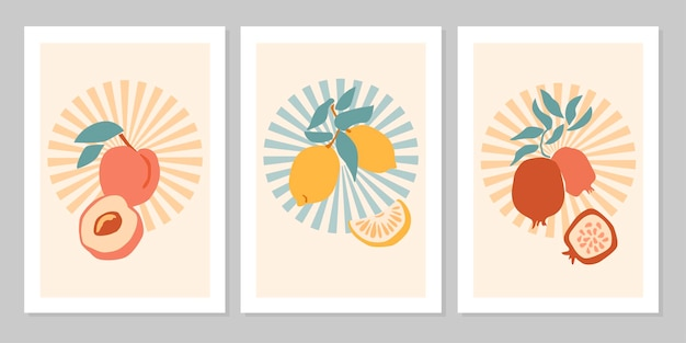 Mão desenhada conjunto poster boho abstrato com frutas tropicais limão, pêssego, romã isolada em bege. ilustração em vetor plana. design para padrão, logotipo, cartazes, convite, cartão de felicitações