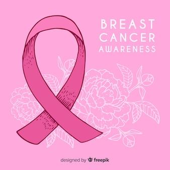 Mão desenhada conscientização do câncer de mama