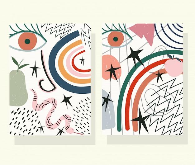 Mão desenhada contemporânea, moda impressão colagem cor rosto cobra frutas banners