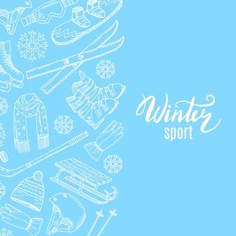 Mão desenhada contornada equipamentos esportivos de inverno