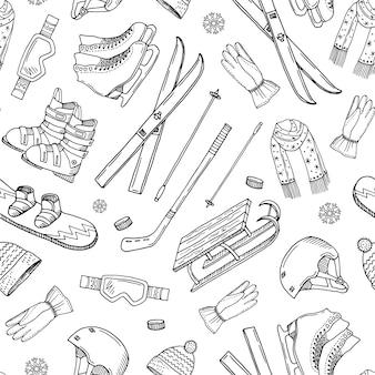 Mão desenhada contornos inverno equipamentos esportivos e atributos
