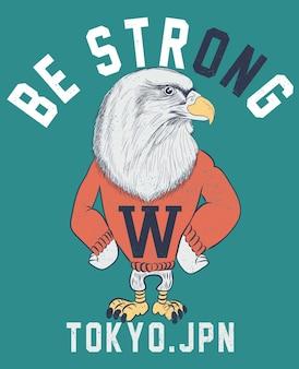 Mão desenhada cool vector design de águia para impressão de camisa de t