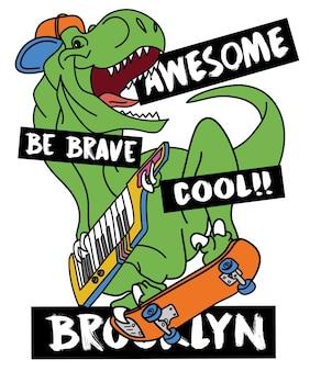 Mão desenhada cool vector design de dinossauro para impressão de camisa de t