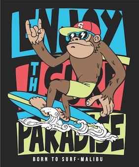 Mão desenhada cool vector design de macaco para impressão de camisa de t