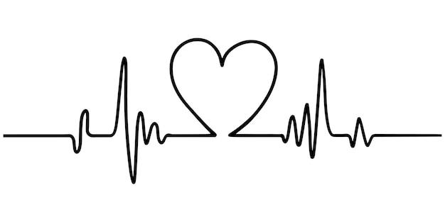 Mão desenhada coração com batimento cardíaco isolado no fundo branco. ilustração vetorial
