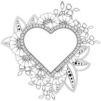 Mão desenhada coração com flor mehndi. decoração em étnico oriental, ornamento do doodle. esboço mão desenhar ilustração.
