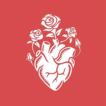 Mão desenhada coração humano com rosas.