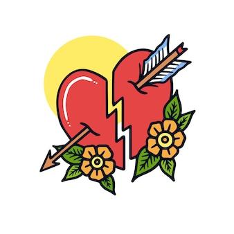 Mão desenhada coração partido e seta velha escola tatuagem ilustração