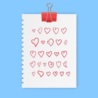 Mão desenhada coração sinal conjunto de símbolos de amor ilustração doodle conjunto de ícones de amor