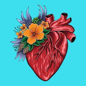 Mão desenhada coração vermelho e desenho de pôster de flores healty