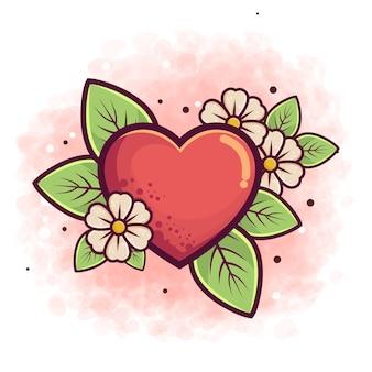 Mão desenhada coração vermelho ou sinal de amor e flor para tatuagem e adesivo