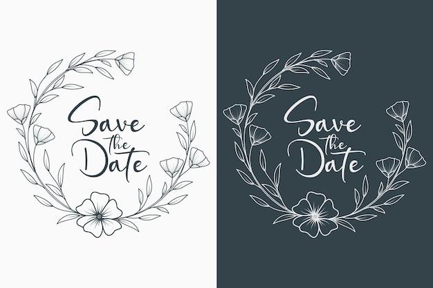 Mão desenhada coroa de casamento floral mínimo e moldura de casamento