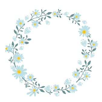 Mão desenhada coroa de flores de primavera com flores de camomila. moldura redonda para cartões e convites de casamento, banners de venda de primavera e ofertas de verão. borda redonda do vetor com copyspace.