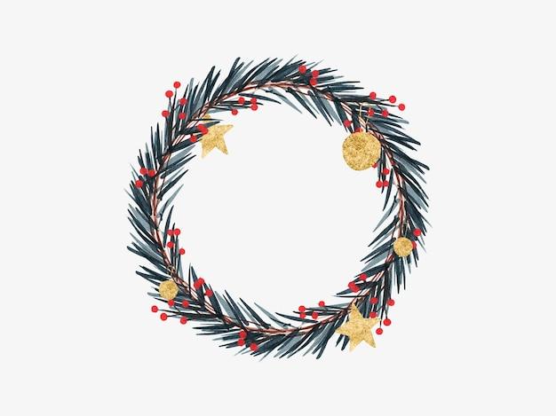 Mão desenhada coroa de flores em aquarela com ouro bola estrela galho abeto azevinho berry galho de árvore v