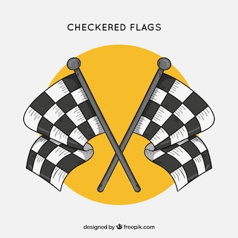 Mão desenhada corrida quadriculada bandeiras