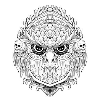 Mão desenhada coruja com caveira e ornamento linha arte preto e branco
