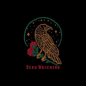 Mão desenhada corvo corvo segure rosa ilustração carimbo velho