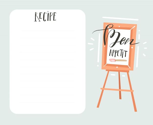 Mão desenhada cozinha estúdio ilustração receita cartão templete com caligrafia manuscrita