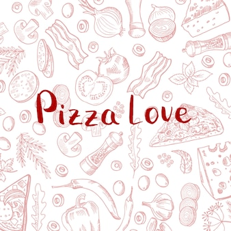 Mão desenhada cozinhar elementos de pizza padrão com letras