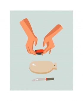 Mão desenhada cozinhar tempo divertido ilustração com a preparação de alimentos pessoas mãos