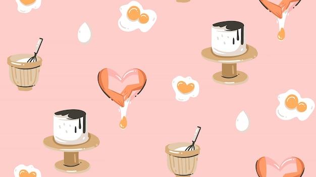 Mão desenhada cozinhar tempo divertido ilustração padrão sem emenda com equipamentos, bolos e comida