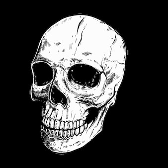 Mão desenhada crânio humano em fundo escuro. elemento de design para logotipo, etiqueta, sinal, pino, cartaz, camiseta. ilustração vetorial