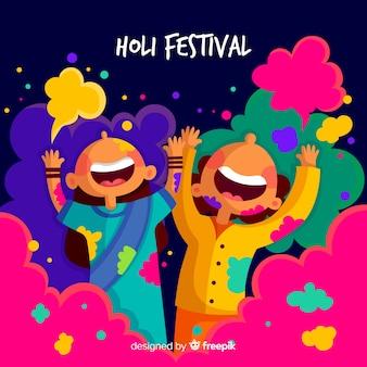 Mão desenhada crianças festival holi fundo